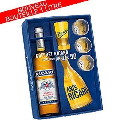 Coffret Ricard Années 50 - 100cl (1litre) - Edition spéciale 4 verres & carafe