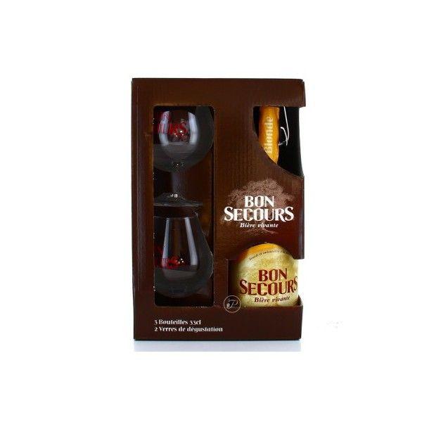 Coffret Bon Secours 3x33cl + 2 verres