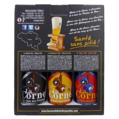 Coffret La Corne du bois des pendus 3x33cl + 1 verre Corne