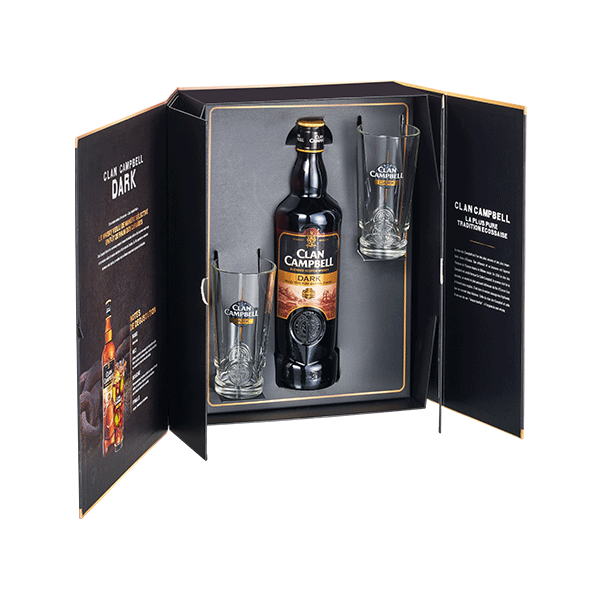Coffret Clan Campbell Dark 1x70cl + 2 verres