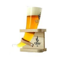 Verre à bière LA CORNE 33cl avec support en bois