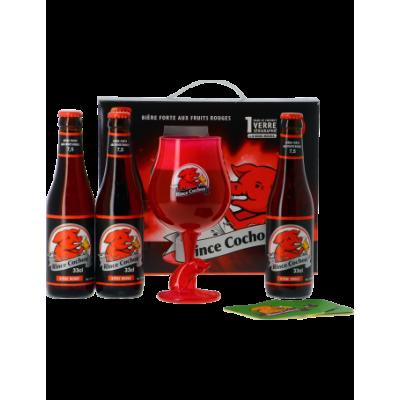 Coffret Rince Cochon Rouge 3x33cl + 1 verre