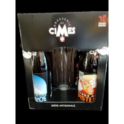 Coffret brasserie artisanale des CIMES 4x33cl + 2 verres